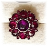 Click to view larger image of Antique 800 European Silver Ruby Garnet Cluster Ring . (Image2)