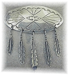 Sterling Silver Signed Tassle Feathers Brooch
