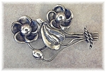 Large Vintage Sterling Silver Flower Brooch