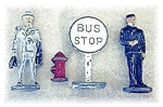 Lead  Toy Bus Stop Fire Hydrant Mail Man Salesman
