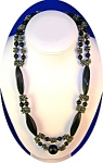 Green Plastic Lucite and Black Jet Glass Necklace