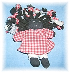 Click here to enlarge image and see more about item 0725200509: Black Cloth Doll 50s Handmade