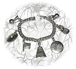 Click to view larger image of Charm Bracelet Mexico Plateria GIL Sterling Silver 7 Ch (Image1)