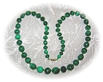 FAB 21 Inch Graduated Malachite Necklace