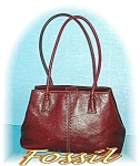 Click to view larger image of Dark Red Vintage Fossil Hand Bag Purse (Image1)