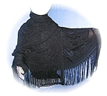 Click here to enlarge image and see more about item 0730200523: BLACK FRINGED SCARF stole