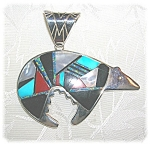 Sterling Silver Turquoise Onyx CALVIN BEGAY Bear