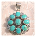 Sterling Silver Turquoise pendant Signed B Johnson