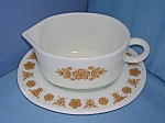 Click here to enlarge image and see more about item 0730200801: Pyrex Glass Butterfly Gold Gravy Boat & Underplate 60s
