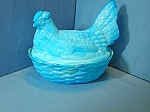 Glass hen on nest blue White Marked H