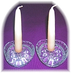 Click here to enlarge image and see more about item 0731200501: Heavy Bubble Glass Candleholders