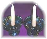 Click here to enlarge image and see more about item 0731200513: Blue Carnival Glass Grape Pattern Candleholders USA