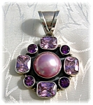 Click to view larger image of Pendant Sterling Silver Pink Mabe Pearl Amethyst Pink C (Image1)