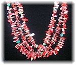 Click to view larger image of 3 Strand Spiney Oyester Turquoise Heishi Bead Necklace (Image1)