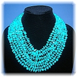 8 Graduated Strands Turquoise Nuggets necklace