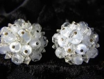 LAGUNA  Milk Glass Borealis Clip Earrings
