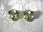 Claw Set Green Rhinestone  Cabochon Glass clip earrings