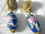 Glass Bead Drop Clip Earrings Goldtone & Blue