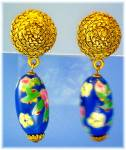 Click to view larger image of Glass Bead Drop Clip Earrings Goldtone & Blue (Image3)
