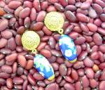Click to view larger image of Glass Bead Drop Clip Earrings Goldtone & Blue (Image5)