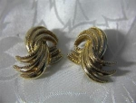 Scrolled Clip Earrings Heavy Goldtone