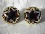 Goldtone & Ruby Red Faceted Clip Earrings