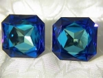 Sapphire Blue Faceted Glass Square Clip Earrings