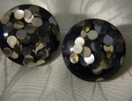 Black & Silver Bakelite Lucite Clip Earrings