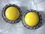Vintage Yellow & Rhinestone Clip Earrings