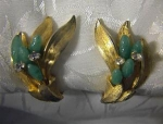 Goldtone Faux Jade & Rhinestone Clip Earrings