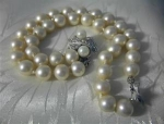 Click here to enlarge image and see more about item 0804200269: Sterling Silver 2 Row Faux Pearl Bracelet