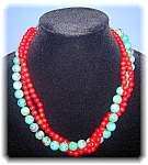 Click to view larger image of Coral Turquoise  Sterling Silver 3 Strand Necklace Arti (Image1)