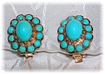 Click here to enlarge image and see more about item 08042006167: Earrings 14K Gold and Persian Turquoise Clip
