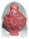 Click here to enlarge image and see more about item 0805200504: Cinnabar Chinese Snuff Bottle 70s