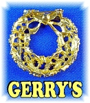 Signed GERRY'S Christmas Wreath Brooch Pin