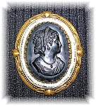 Click here to enlarge image and see more about item 08082006023: Black Celluloid Pearl and Goldtone Cameo Brooch Pin