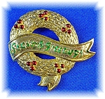 Click to view larger image of Vintage GERRY'S Seasons Greetings Christmas Brooch Pin (Image1)