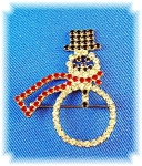 Vintage Crystal Claw Set Snowman Brooch Pin