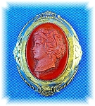Click here to enlarge image and see more about item 0808200617: 1 7/8 Burnt Orange Glass Cameo Brooch Pin