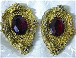 Dress Clips Ruby Lucite Goldtone Vintage