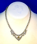 Crystal Rhinestone 15 Inch  Rhodium Silver Necklace