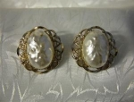 MARINO Clip Earrings Goldtone Filigree & Pearl