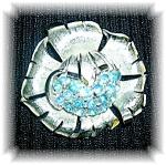 Silvertone Blue Rhinestone CORO Brooch Pin
