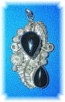 Signed Sterling Silver and Black Onyx H B Y Pendant