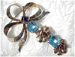 Antique Gold Vermeil Silver Silver  Blue Flower Brooch