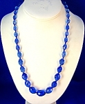 Sapphire Blue Glass Bead Necklace