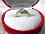 Ring 10K Gold Oval Emerald Diamond Accent