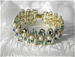 Click here to enlarge image and see more about item 08100346: Goldtone Pearl Blue Borealis BSK Bracelet