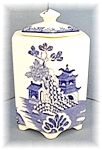 Click here to enlarge image and see more about item 0811200401: 6 Sided English MASONS Blue Willow Jar