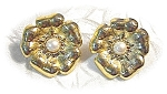 Goldtone & Faux Pearl TRIFARI Clip Earrings